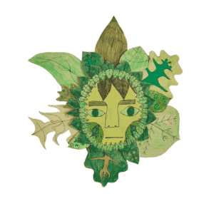 """Artwork of a """"Green Man"""" with leaves"""